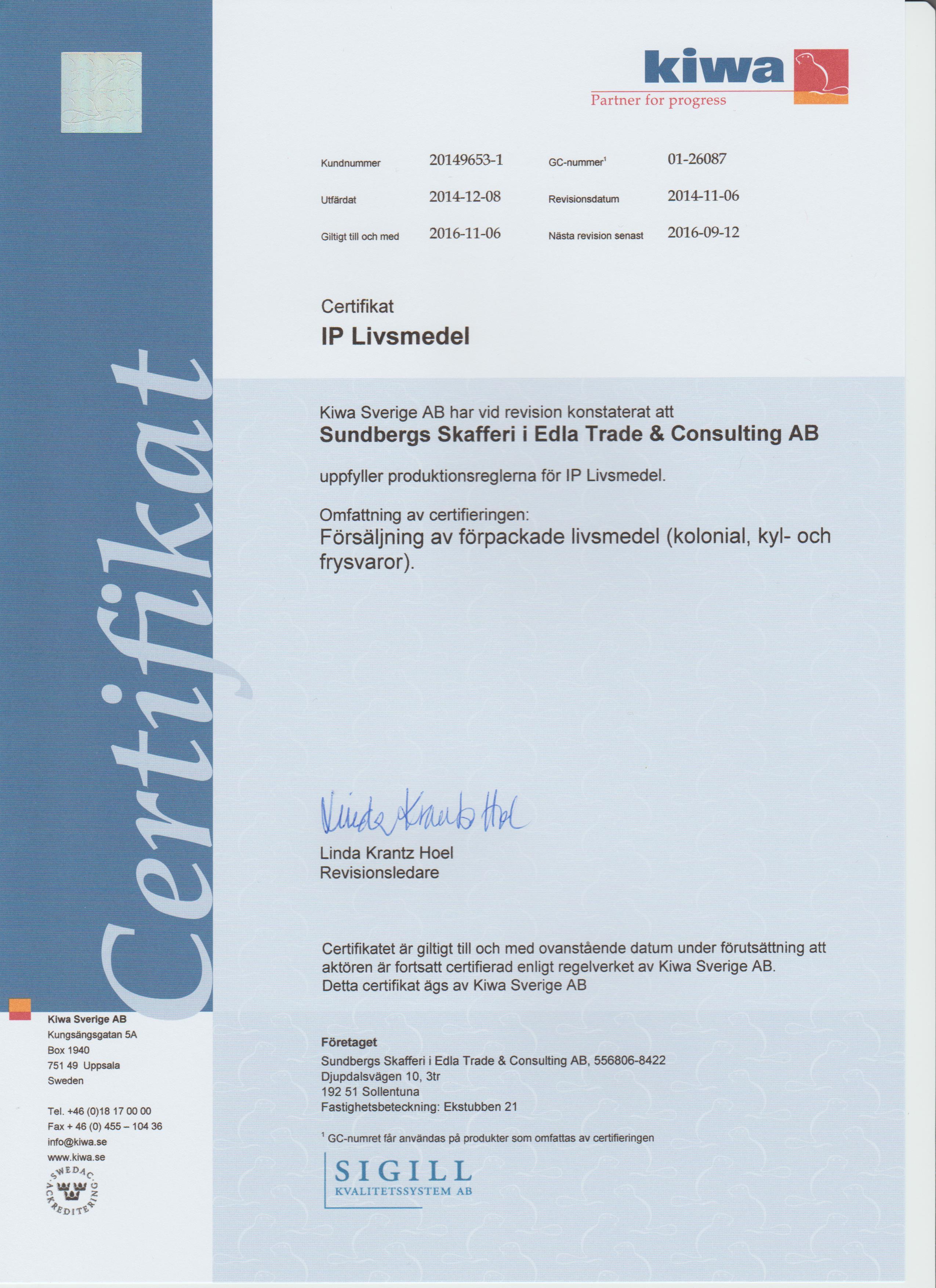 Sundbergs Skafferi skannat Certifikat IP Livsmedel 2014.jpeg-1 (2)